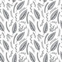 hojas dibujadas a mano de patrones sin fisuras vector