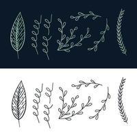 conjunto de hojas dibujadas a mano vector