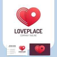 logistics pin heart icon and business card vector