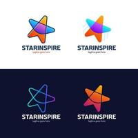 star colorful icon set vector