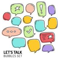 hand draw speech bubble or chat talk icon set vector