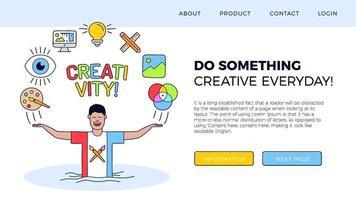 ilustración de página de destino de creatividad vector