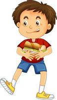 Happy boy cartoon character hugging food sandwich vector