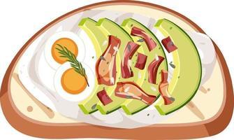 Vista superior de un pan con cobertura de huevo y aguacate vector