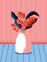 Colorful bouquet of spring flowers and branches in a vase. Stylish artistic vertical card illustration. vector
