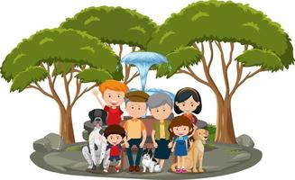 Happy family in the park isolated on white background vector