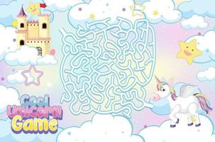 Maze puzzle game activity for children in unicorn theme vector