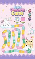Board Game for kids in pastel unicorn style template vector