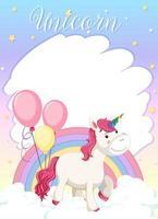 lindo unicornio sobre fondo de color pastel vector