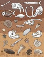 Many fossil under the ground vector