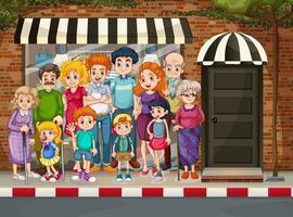familia feliz de pie frente a la tienda de compras vector