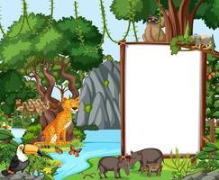 Escena del bosque con pancarta vacía y muchos animales salvajes. vector