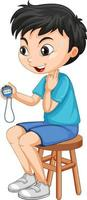 Cute boy sitting on a chair and holding timer vector