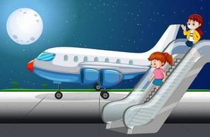 pasajeros bajando del avión vector