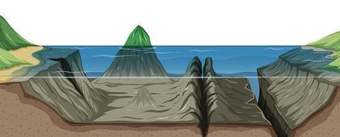 Mariana trench undersea landscape vector