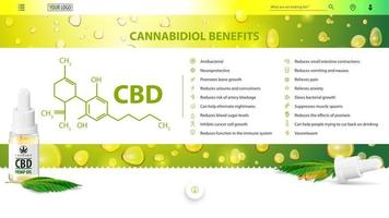 Cannabidiol Benefits, green and white poster for website with cannabidiol benefits with icons, CBD oil bottle with marijuana leafs and cannabidiol chemical formula vector