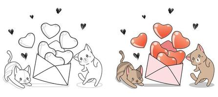 Adorable cats are opening love letter cartoon coloring page for kids