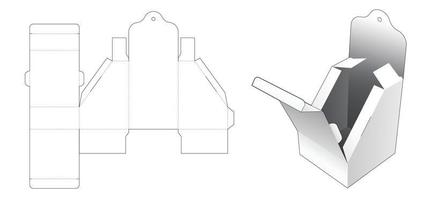 Chamfered flip packaging box with hanging hole die cut template vector