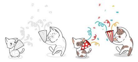Lindos gatos son felices en la página para colorear de dibujos animados de fiesta vector