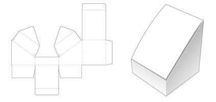 Sloped flip short box die cut template vector
