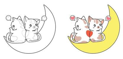 Cute cats are loving on the moon cartoon coloring page vector