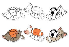 Cute cats and sports equipment cartoon coloring page for kids vector