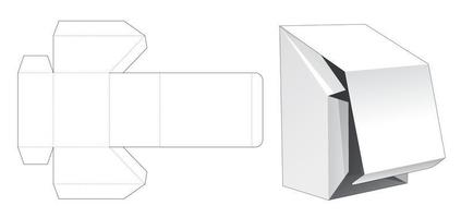 Chamfered flip box with bottom opening point die cut template vector