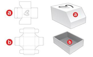 Box and chamfered lid with heart window die cut template vector