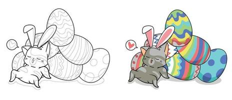Cute bunny cat and eggs for easter day cartoon coloring page for kids vector