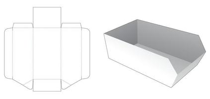 Cardboard chamfered tray die cut template vector