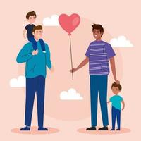 happy fathers day greeting card with fathers and children vector