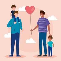 feliz día del padre tarjeta de felicitación con padres e hijos vector