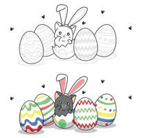 Cute bunny cat inside an egg for easter day cartoon coloring page for kids vector
