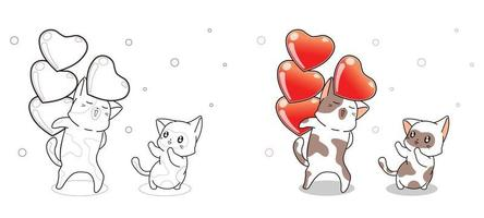 Cat is sending hearts to friend cartoon coloring page vector