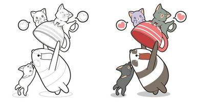 Adorable panda is enjoying play with cats cartoon coloring page for kids