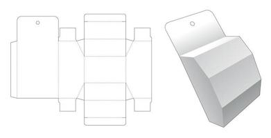 Top and bottom chamfered box with hanging hole die cut template vector