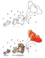 Couple of cat and bear with heart balloons cartoon coloring page vector