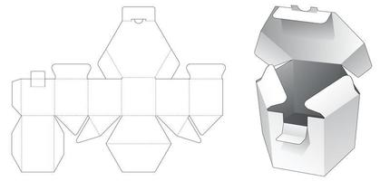 Short hexagonal box with locked point die cut template vector