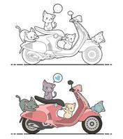 Adorable cats on motorbike cartoon coloring page for kids vector
