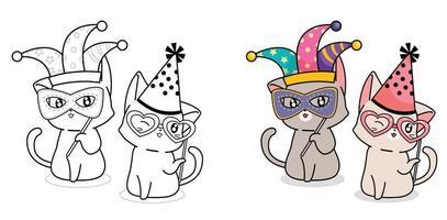 Adorable fancy cat cartoon coloring page vector