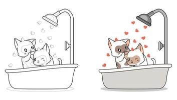 par de gatos se bañan página para colorear de dibujos animados vector