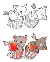 Pareja de gatos enamorados de la página para colorear de dibujos animados de San Valentín vector