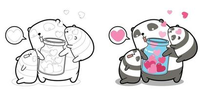 Pandas and hearts in bottle for Valentine day cartoon coloring page for kids vector