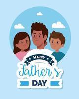 feliz día del padre tarjeta de felicitación con papá e hijos vector