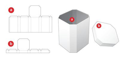 Chamfered corner box with chamfered corner lid die cut template vector