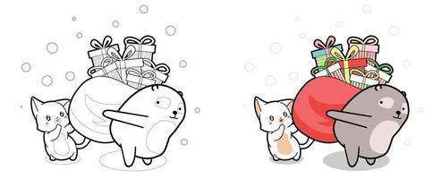 Lovely cat and bear are lifting bag of gifts cartoon coloring page vector