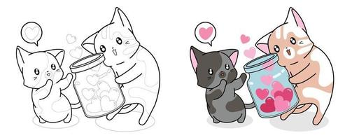 Cats getting hearts in jar coloring page vector