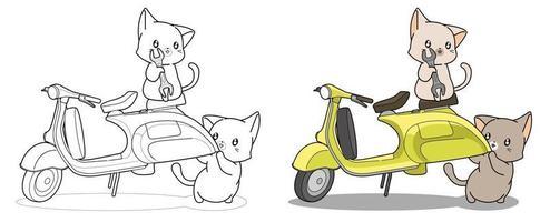 encantadores gatos ingeniero y motocicleta página para colorear de dibujos animados vector
