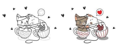 Linda pareja de gatos son amantes en la página para colorear de dibujos animados de taza vector