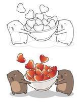 Kawaii osos levantando cuenco de corazones dibujos animados página para colorear fácilmente vector
